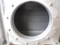 View inside the heatexchanger, flat-pipes visible